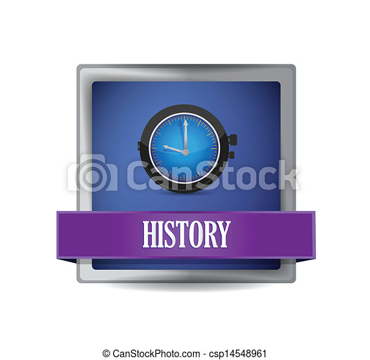 History icon on glossy blue button illustration - csp14548961