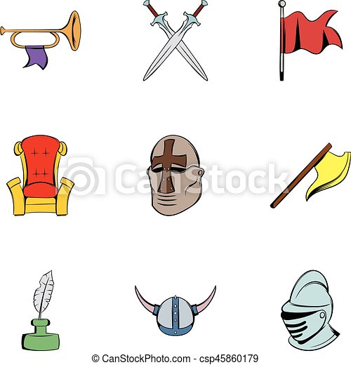 History icons set, cartoon style - csp45860179
