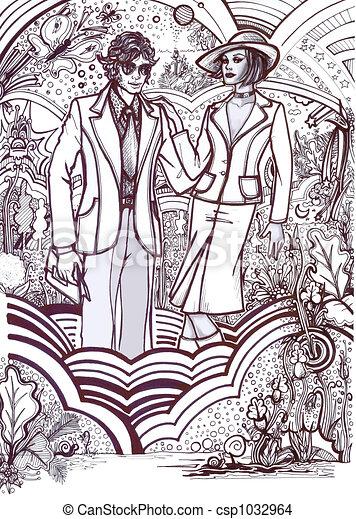 History of Fashion: 70s c - csp1032964