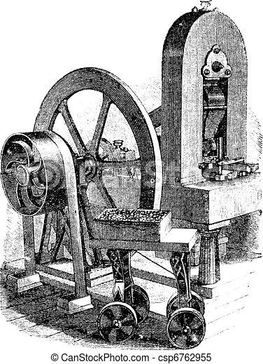 Hit machine, vintage engraving - csp6762955