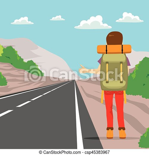 Hitchhikers By Side Of Road >> Hitchhiking Back Man Back View Of Man Doing Hitchhiking Standing On