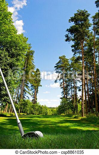 hitting golf ball on fairway - csp8861035