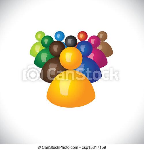 hivatal, politikai, graphic., tagok, közösség, cégtábla, bot, &, nyertes, -, befog, is, kíséret, vezető, 3, színes, ábra, vezetés, őt előad, ez, dolgozók, ikonok, vagy, vektor, bénabélák - csp15817159