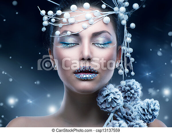 hiver, beauté, maquillage, noël, girl, woman. - csp13137559