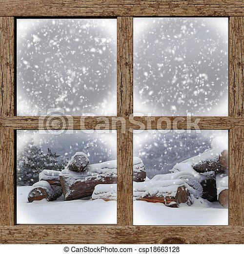 Hiver bois bois br ler fen tre tas dehors vue photo for Fenetre hiver