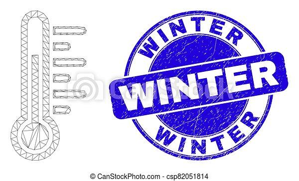 hiver, détresse, toile, maille, bleu, cachet, température - csp82051814