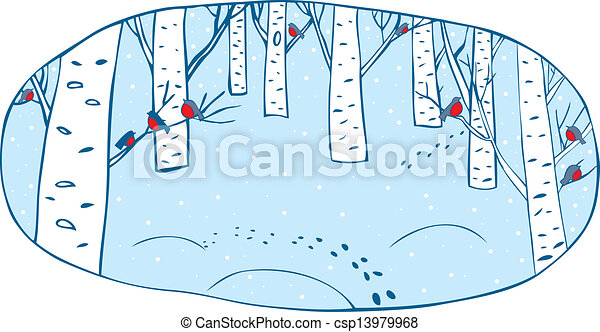 hiver, forêt - csp13979968