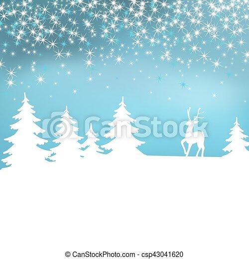 hiver, noël, forest., arrière-plan., deer., fée, blanc, paysage - csp43041620