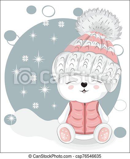 Hiver Ours Peluche Mode Joyeux Anniversaire Image Blanc Design Teddy Postcard Main Usure Ours Dessin Hat