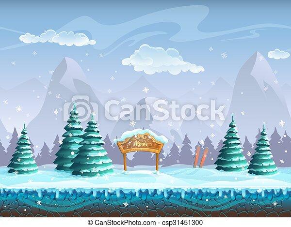 hiver, seamless, signe, fond, ski, dessin animé, paysage - csp31451300