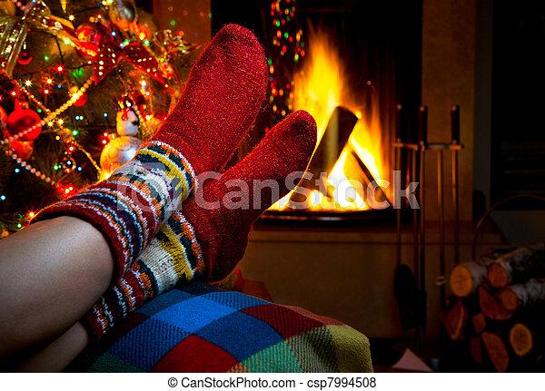hiver, soir, cheminée, romantique, noël - csp7994508