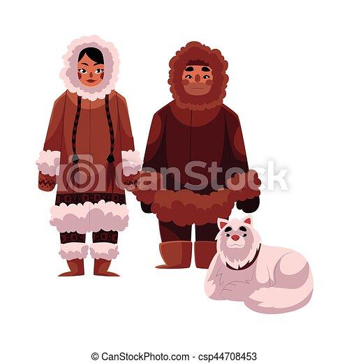 Hiver Traîneau Couple Chien Chaud Inuit Esquimau Vêtements