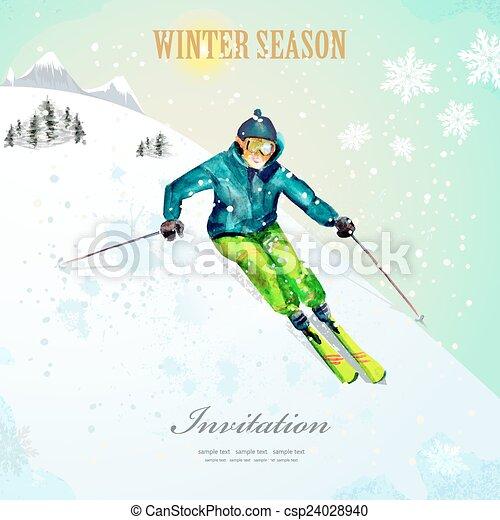 hiver, vendange, watercolor., resort., pos, sport., ski, girl, ski - csp24028940