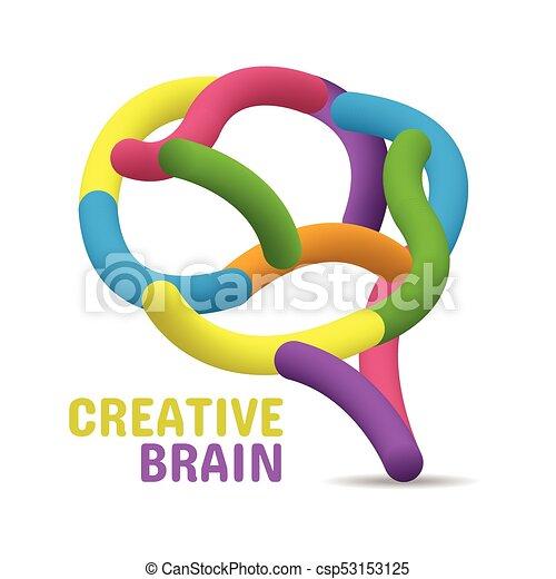 hjärna, begrepp, färgrik, skapande - csp53153125