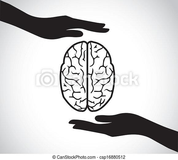 hjärna, hand, hälsa, mental, beskyddande - csp16880512