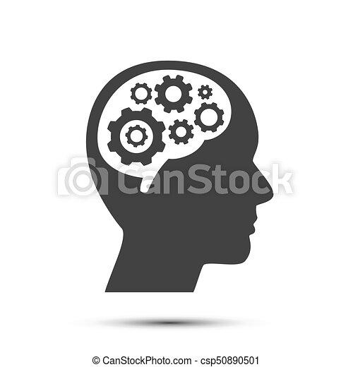 hjärna, huvud, utrustar, object. - csp50890501