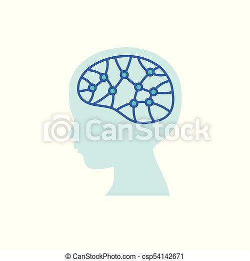 hjärna, icon., forska, barn, begrepp - csp54142671