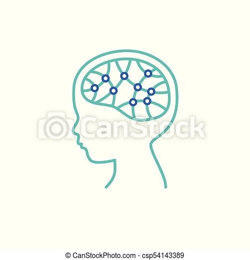 hjärna, icon., forska, barn, begrepp - csp54143389
