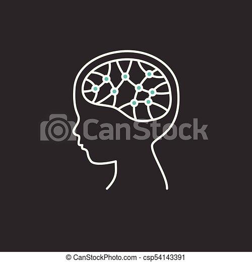 hjärna, icon., forska, barn, begrepp - csp54143391