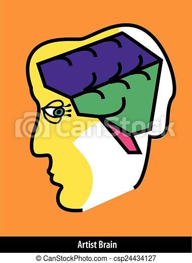 hjärna, slaglängder, artist, måla - csp24434127