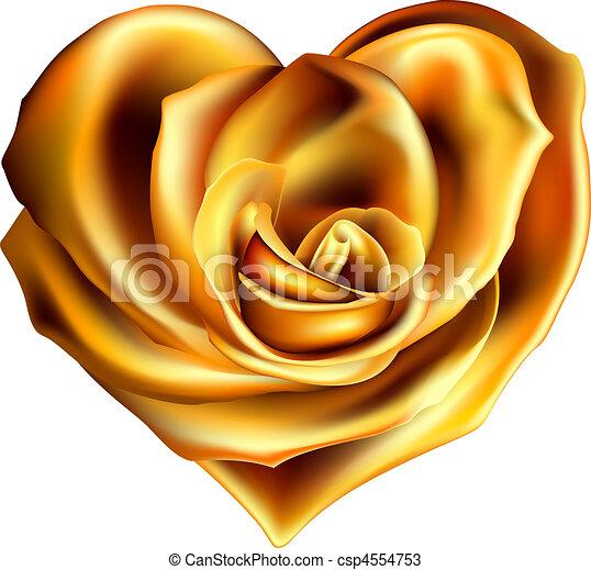 hjärta, blomma, guld - csp4554753