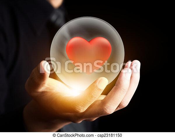 hjärta, boll, kristall, röd - csp23181150
