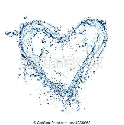 hjärta, gjord, symbol, isolerat, vatten, stänk, bakgrund, vit - csp12230963