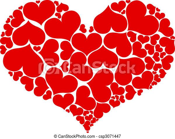 Hjärta, hjärtan. Hjärta, mindre, stor, isolerat, comprised ...