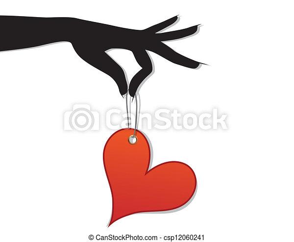 hjärta, kvinna, hålla, kärlek, röd - csp12060241