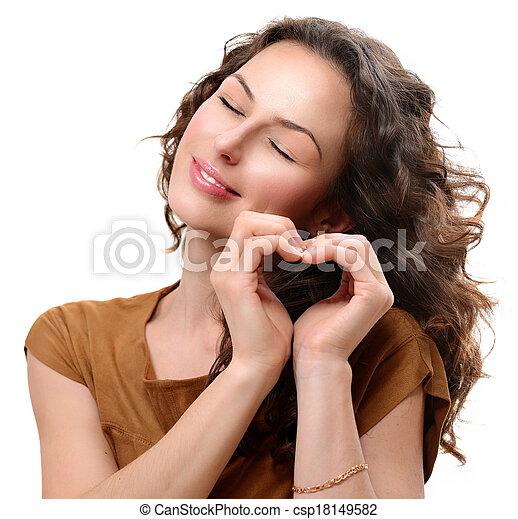 hjärta, kvinna, kärlek, henne, valentinkort, visande, st., dag, hands. - csp18149582
