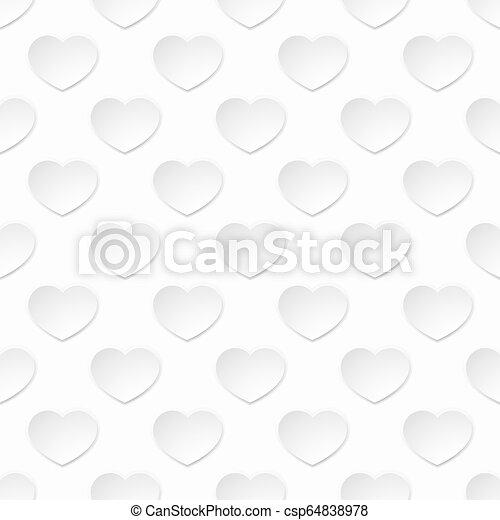 hjärta mönstra, seamless, papper, bakgrund, vit - csp64838978
