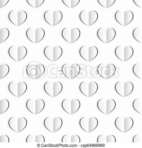 hjärta mönstra, seamless, papper, bakgrund, vit - csp64966989