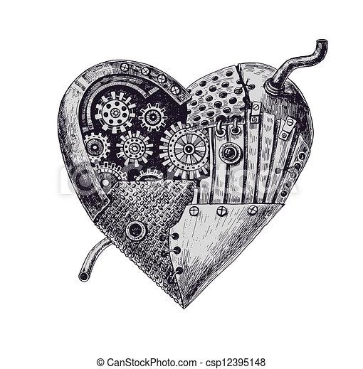 hjärta, mekanisk - csp12395148