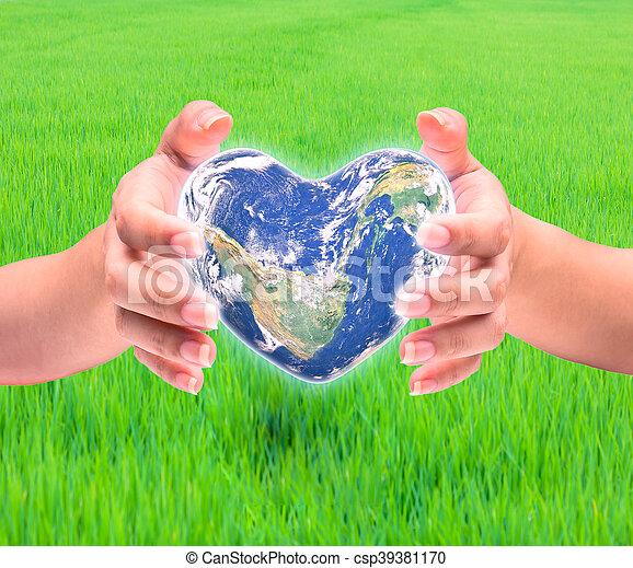 hjärta, naturlig, background:, möblera, detta, över, suddig, form, nasa, hälsa, människa lämnar, värld, kvinnor, avbild, dag - csp39381170