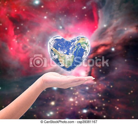 hjärta, naturlig, background:, möblera, detta, över, suddig, form, nasa, hälsa, människa lämnar, värld, kvinnor, avbild, dag - csp39381167