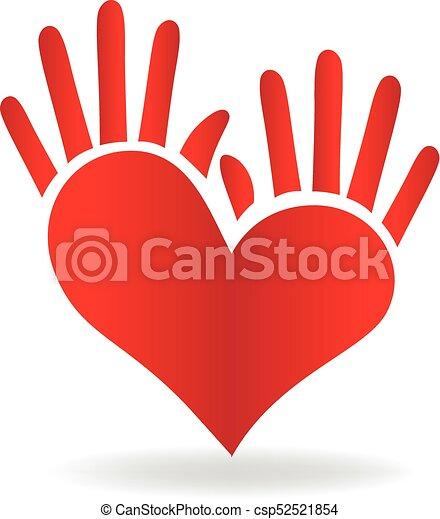 hjärta, räcker, logo - csp52521854
