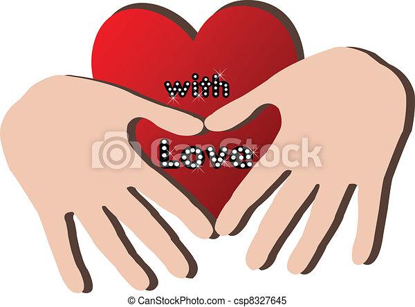 hjärta, räcker, logo - csp8327645