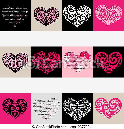 hjärta, set., love., illustration, bakgrund., vektor - csp12377234