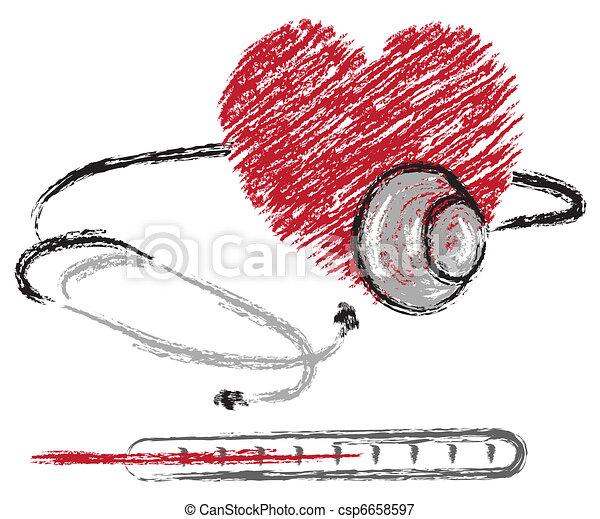 hjärta, stetoskop, termometer - csp6658597