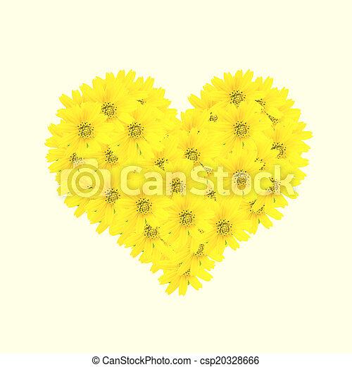 hjärta, stil, gammal, årgång, retro blommar - csp20328666