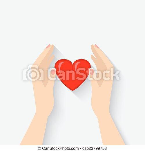 hjärta, symbol, räcker - csp23799753