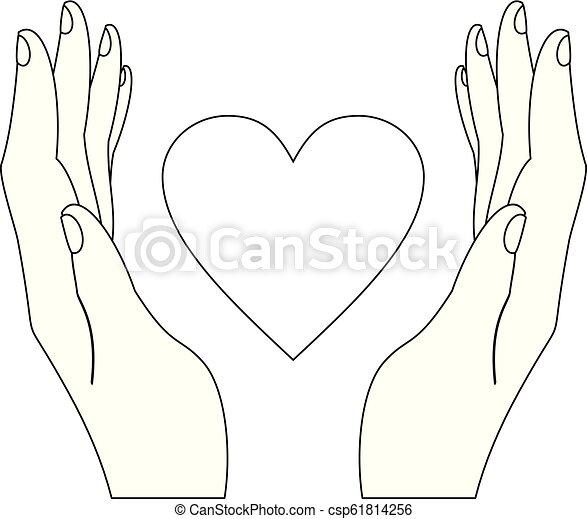 hjärta, teckning, räcker - csp61814256
