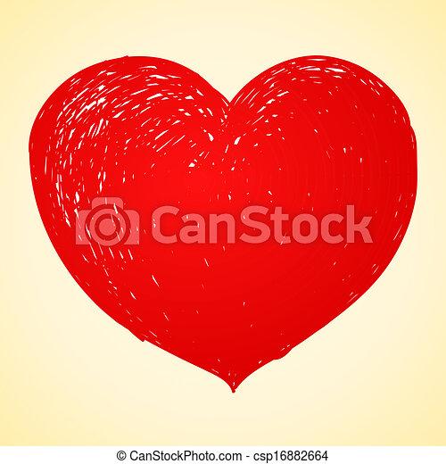 hjärta, teckning, röd - csp16882664