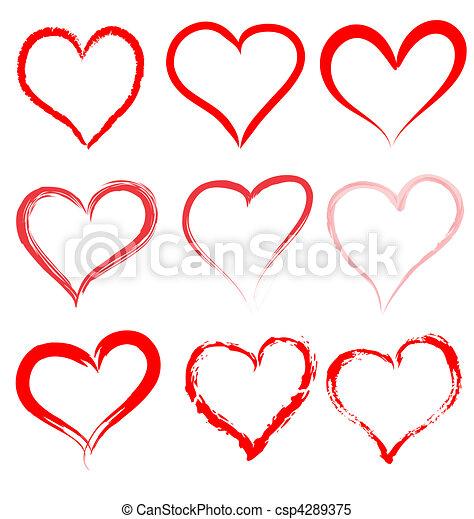 hjärta, valentinkort, valentinbrev, vektor, hjärtan, dag, röd - csp4289375