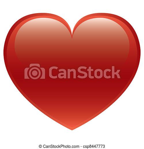 hjärta, vektor, röd - csp8447773