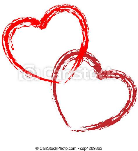 hjärtan, par, vektor, artistisk - csp4289363