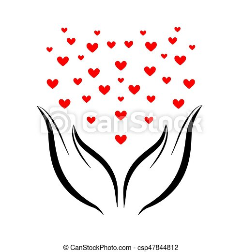 hjärtan, räcker, fluga - csp47844812