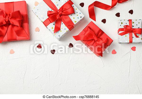 hjärtan, rutor, text, utrymme, bakgrund, gåva, vit - csp76888145