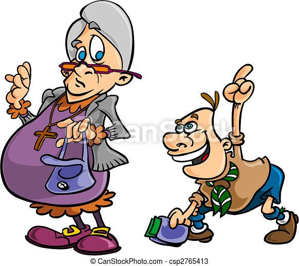 Hjælper, gamle, spejder, dame. Dreng, gamle, hende ...