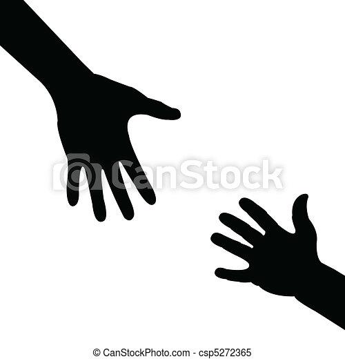 hjælper, silhuet, hånd - csp5272365
